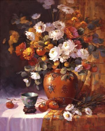 Mums and Persimmons by Maxine Johnston