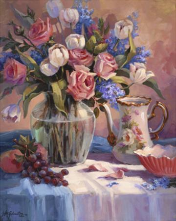 White Tulips & Roses by Maxine Johnston