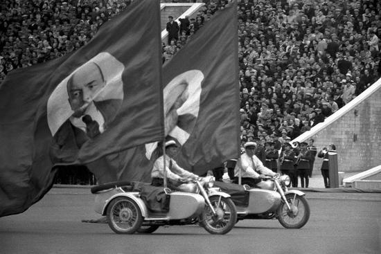 May 1st parade in Moscow, motorcycles with huge flags bearing portraits of Lenin and Marx.-Erich Lessing-Photographic Print