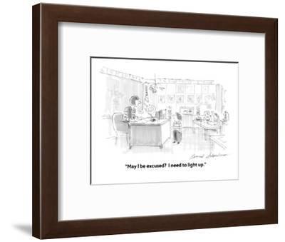 """May I be excused?  I need to light up."" - Cartoon-Bernard Schoenbaum-Framed Premium Giclee Print"