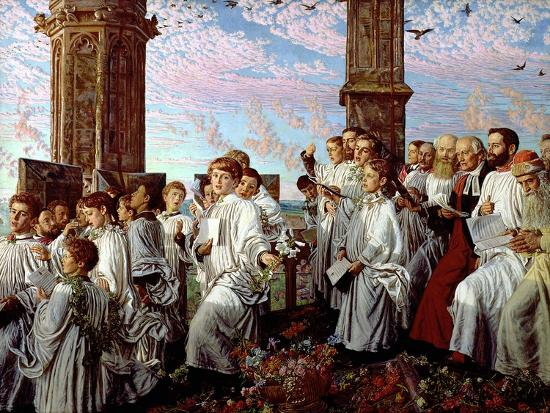 May Morning on Magdalen Tower-William Holman Hunt-Giclee Print