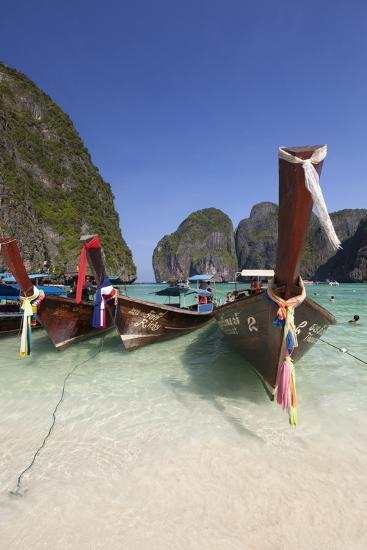 Maya Bay with Long-Tail Boats, Phi Phi Lay, Krabi Province, Thailand, Southeast Asia, Asia-Stuart Black-Photographic Print