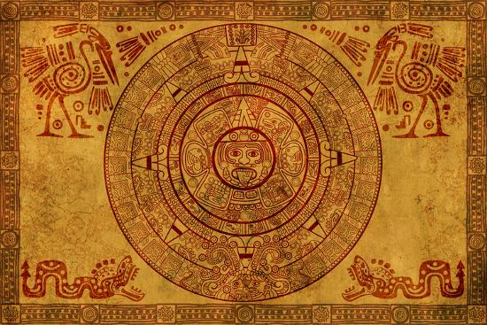 Maya Calendar On Ancient Parchment-frenta-Art Print