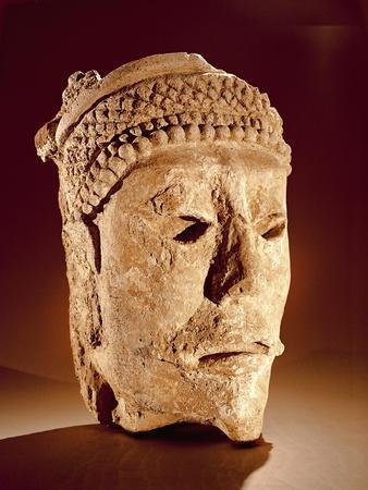 Head Cut from a Wall at Comalcalco, Tabasco, Classic Maya (Stucco)
