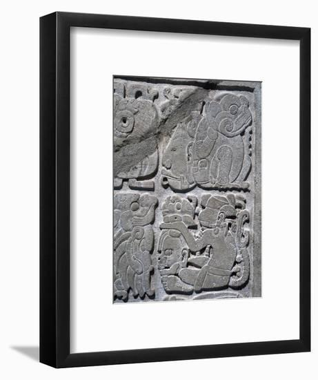 Mayan lintel with glyphs carved in relief to represent a single date, Yaxchilan, Mexico, 526-Werner Forman-Framed Giclee Print