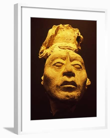Mayan Plaster Mask, Palenque Ruins Museum, Chiapas, Mexico-Charles Crust-Framed Photographic Print