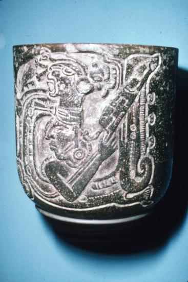 Mayan Pot of Man in high animal head-dress holding staff with lotus flower-Unknown-Giclee Print