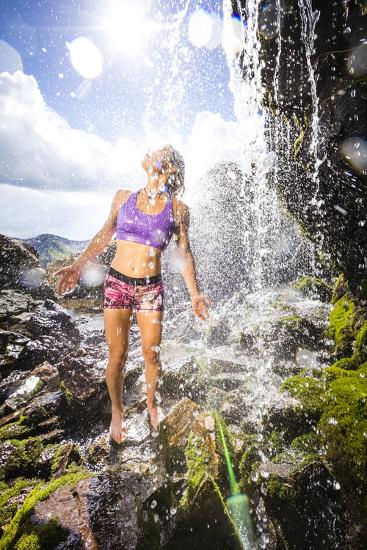 Mayan Smith-Gobat Seeks Refreshment From A Waterfall In The High Rockies Above Marble, Colorado-Dan Holz-Photographic Print