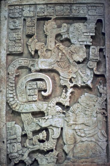 Mayan stone lintel showing a serpent god and priest-Unknown-Giclee Print