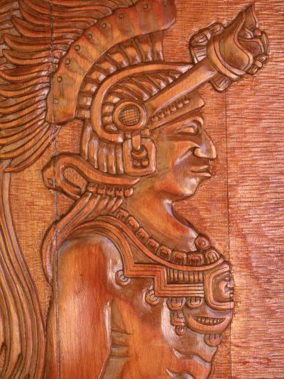 Mayan Wood Carving, Gales Point, Belize-Robert Houser-Photographic Print