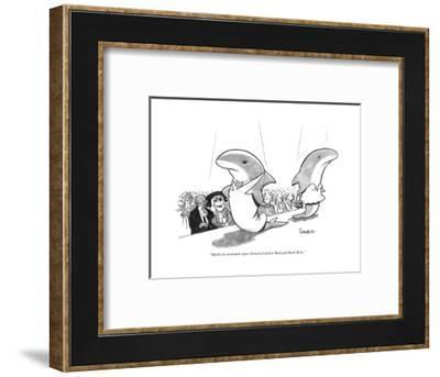 """Maybe we need more space between Fashion Week and Shark Week."" - New Yorker Cartoon-Benjamin Schwartz-Framed Premium Giclee Print"