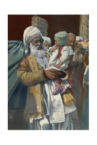 An Indian Man Holds His Grandson by Maynard Owen Williams