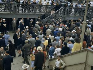 Commuters Crowd a Ferry Landing During Rush Hour by Maynard Owen Williams