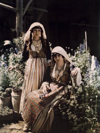 Daughters of Lefkoniko's Headman Pose in Dated Cyprus Costumes