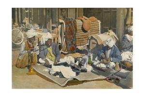 In the Street, a Tailor Needles Leather While Others Smoke a Hookah by Maynard Owen Williams