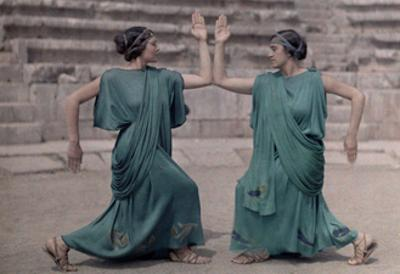 Two Actresses at Delphi Festival Adorn Costumes of Classical Greece