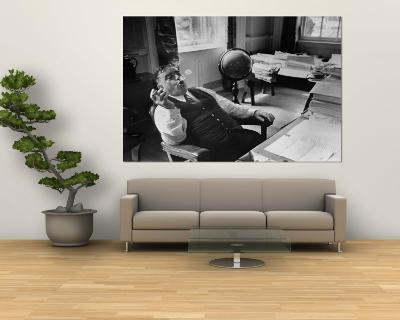 Mayor Fiorello LaGuardia Blowing Smoke Rings Sitting at Desk in His Office-William C^ Shrout-Wall Mural