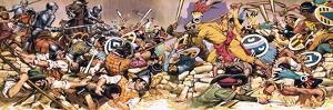 Spaniards under Attack from Aztecs by Mcbride