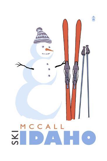 McCall, Idaho - Snowman with Skis-Lantern Press-Art Print