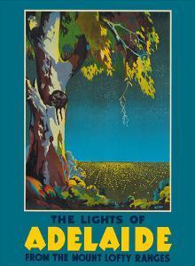 Lights of Adelaide, Australia - Australian Eucalyptus Tree - From the Mount Lofty Ranges by McClean