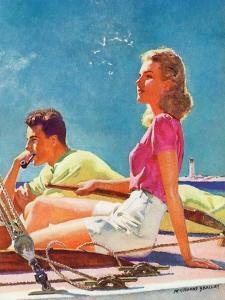 """Couple on Sailboat,""August 1, 1939 by McClelland Barclay"