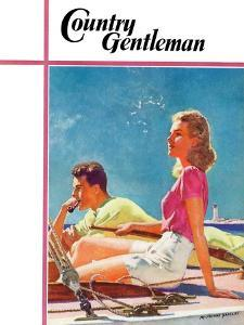 """""""Couple on Sailboat,"""" Country Gentleman Cover, August 1, 1939 by McClelland Barclay"""