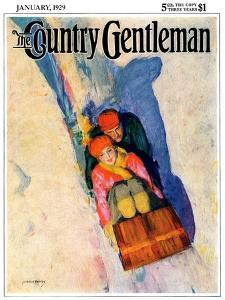 """Couple on Toboggan,"" Country Gentleman Cover, January 1, 1929 by McClelland Barclay"