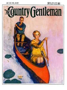 """""""Couple Paddling Caone,"""" Country Gentleman Cover, August 1, 1929 by McClelland Barclay"""