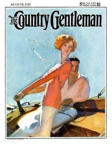 """Couple Sailing,"" Country Gentleman Cover, August 1, 1927 by McClelland Barclay"