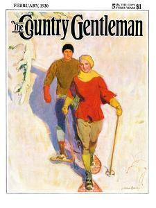 """""""Couple Wearing Snowshoes,"""" Country Gentleman Cover, February 1, 1930 by McClelland Barclay"""