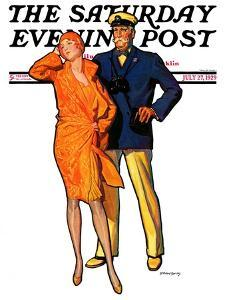 """""""Dapper Couple,"""" Saturday Evening Post Cover, July 27, 1929 by McClelland Barclay"""