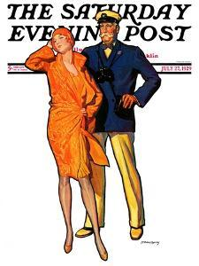 """Dapper Couple,"" Saturday Evening Post Cover, July 27, 1929 by McClelland Barclay"