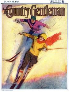 """Downhill Skiing,"" Country Gentleman Cover, January 1, 1927 by McClelland Barclay"