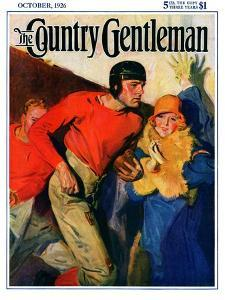 """Football Player and Fan,"" Country Gentleman Cover, October 1, 1926 by McClelland Barclay"