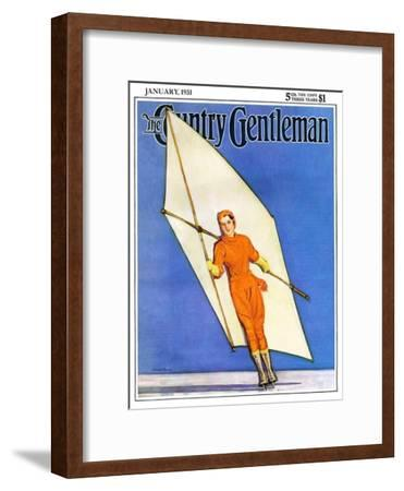 """Ice-Skating under Sail,"" Country Gentleman Cover, January 1, 1931"