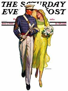"""Military Grad and Girl,"" Saturday Evening Post Cover, June 7, 1930 by McClelland Barclay"