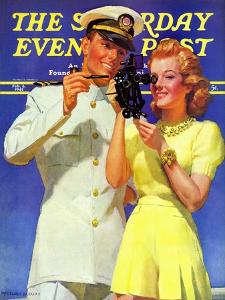 """Naval Officer & Redhead,"" Saturday Evening Post Cover, February 8, 1941 by McClelland Barclay"