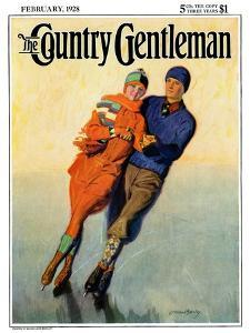 """Skating Couple,"" Country Gentleman Cover, February 1, 1928 by McClelland Barclay"