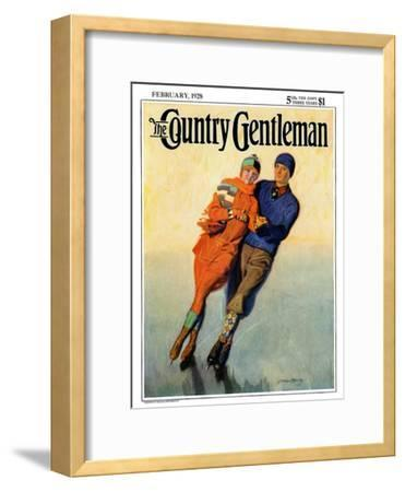 """Skating Couple,"" Country Gentleman Cover, February 1, 1928"