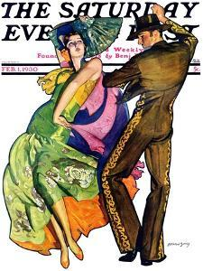 """The Flamenco,"" Saturday Evening Post Cover, February 1, 1930 by McClelland Barclay"