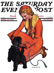 """""""Woman and Scottie,"""" Saturday Evening Post Cover, April 16, 1932 by McClelland Barclay"""