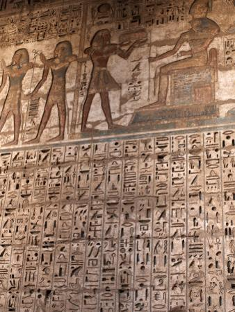 Images and Hieroglyphics Adorn the Walls of Medinet Habu Temple Complex, Thebes, Egypt by Mcconnell Andrew