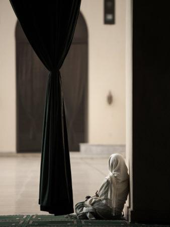 Woman Sitting in the Mosque of Al-Hakim, Cairo, Egypt, North Africa, Africa by Mcconnell Andrew