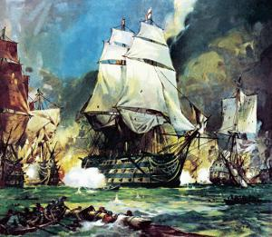 Hms Victory at the Battle of Trafalgar by McConnell