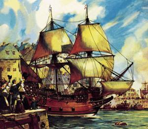The Mayflower Leaves Plymouth by McConnell