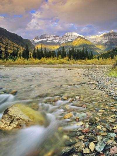 Mcdonald Creek with the Garden Wall in Autumn in Glacier National Park, Montana, Usa-Chuck Haney-Photographic Print