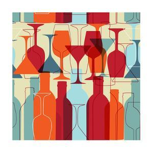 Seamless Background With Wine Bottles And Glasses by mcherevan