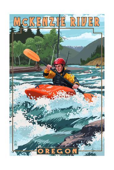McKenzie River, Oregon - Kayak Scene-Lantern Press-Art Print
