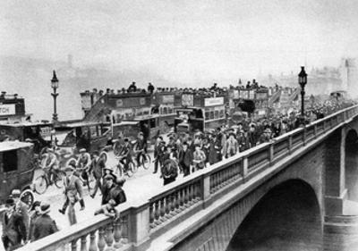 Morning 'Rush Hour, London Bridge, London, 1926-1927 by McLeish and Paterson