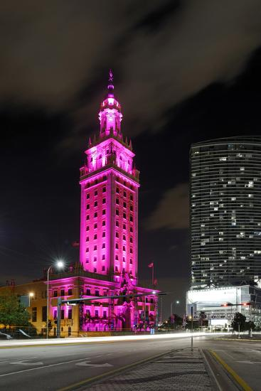 Mdc Freedom Tower at Night, Illumination in Pink, Biscayne Boulevard, Miami Downtown, Miami-Axel Schmies-Photographic Print